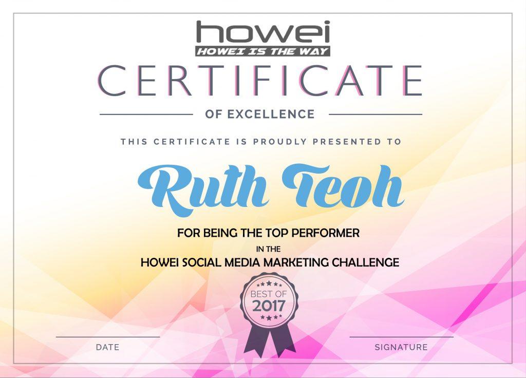 Ruth Top Social Media Certificate